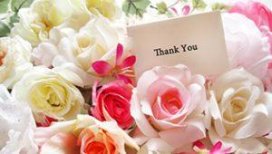 花束とサンクスカード
